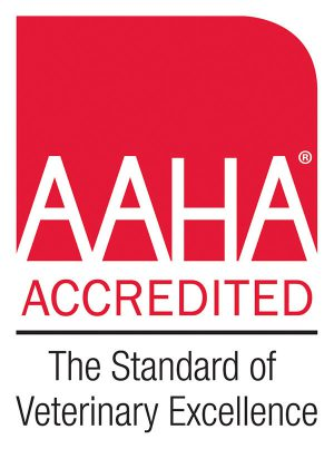 American Animal Hospital Association logo, white letters that spell AAHA over red background